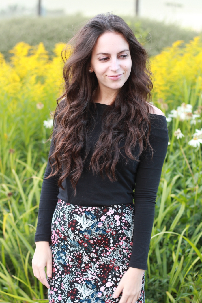 H&M floral Skirt Black bardot top curly long hair