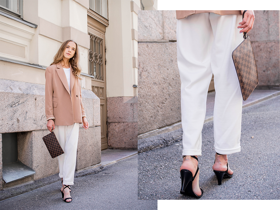 Neutral suit outfit with white trousers and camel blazer - Neutraali jakkupuku, syysmuoti, syyspukeutuminen