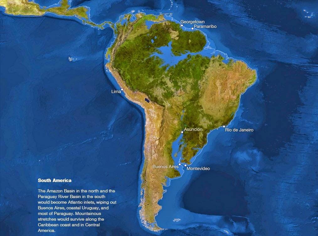 Se o gelo do mundo derreter - América do Sul