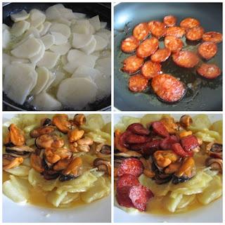 Ingredientes tortilla de patatas, chorizo y mejillones