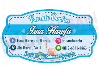 pancake durian isna haerefa - percetakan tanjungbalai - logo label