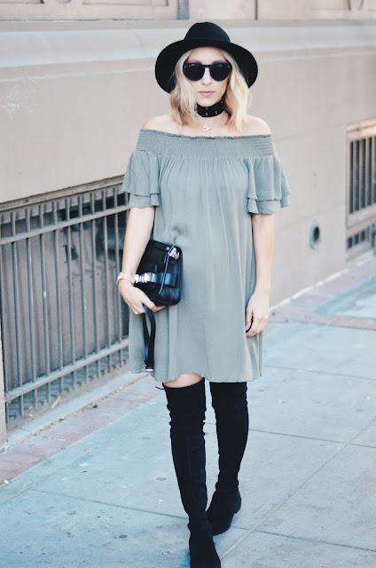 Off the Shoulder Dress for Fall | Olive + Green