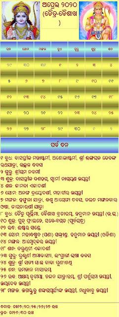 Odia Calendar 2020 April