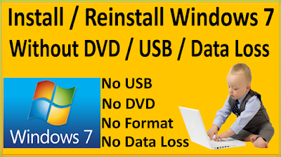 How To ReInstall / Install Windows 7 Without DVD Bootable USB Without Any Data Loss