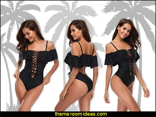 Women Sexy One Piece Swimsuits Lace Up Ruffled Flounce Off Shoulder Monokini Bathing Suit