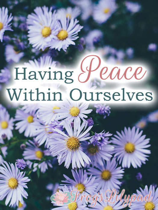 Having Peace Within Ourselves. The inner peace we can have when our focus is where it should be directed.