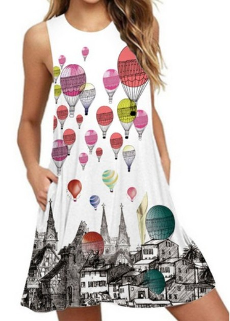 Round Neck Basic Beach Printed Shift Dress– Price:$20.92
