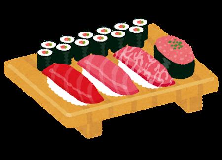 まぐろ寿司セットのイラスト(海苔巻付き)