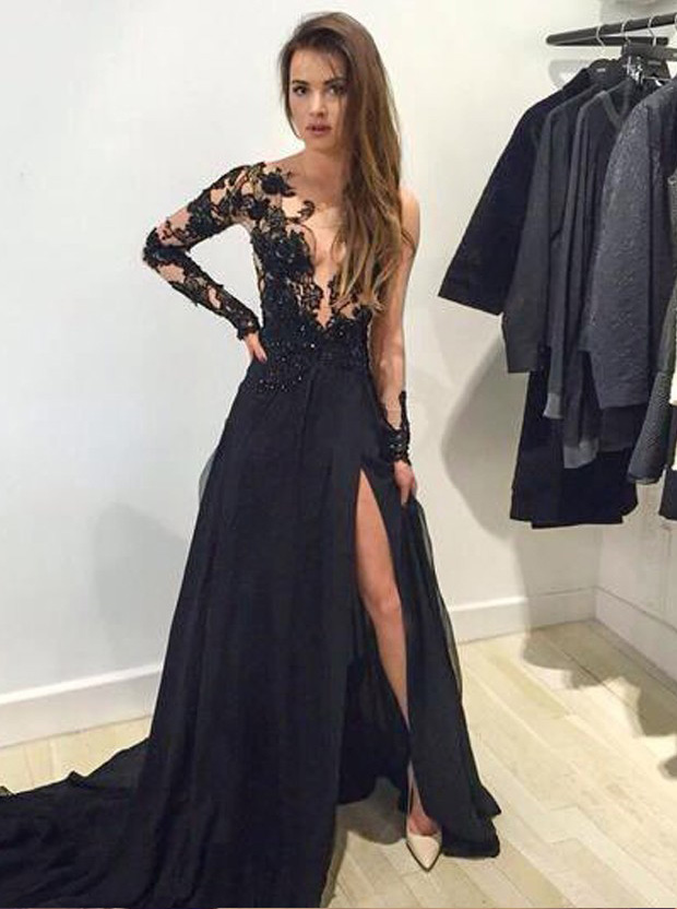 A nacy dress with lace top and thigh slit