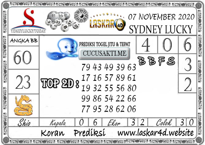 Prediksi Sydney Lucky Today LASKAR4D 07 NOVEMBER 2020