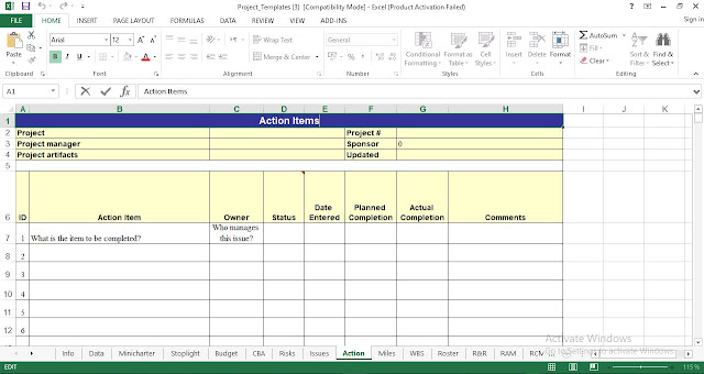 Action Items Template Excel