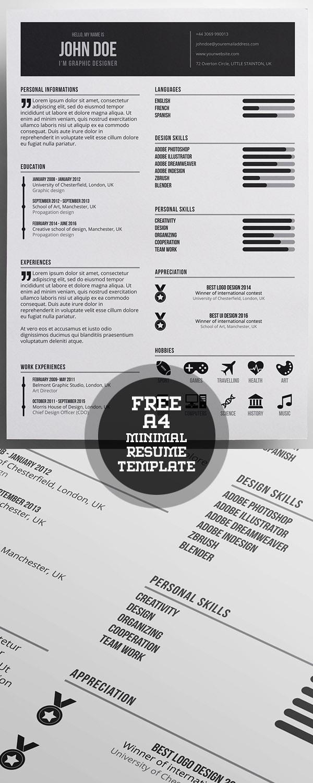 Template Resume / CV Terbaru 2017 - Free Minimal A4 Resume Template