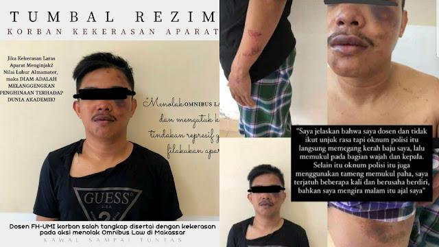 Jadi Korban Salah Tangkap saat Demo, Dosen UMI Makassar Dipukul dan Diseret Polisi
