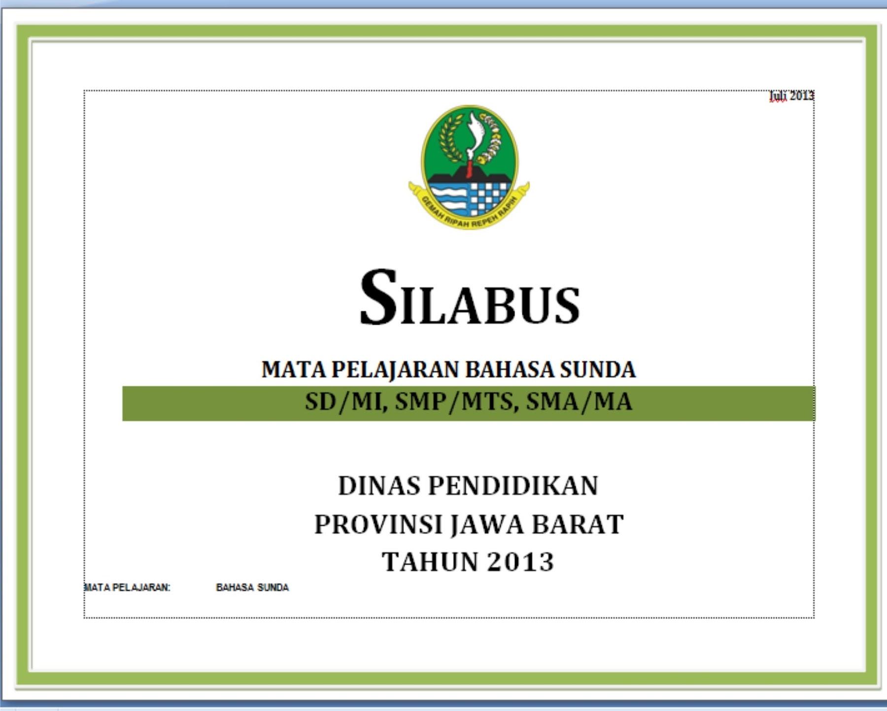 Silabus Bahasa Dan Sastra Sunda 2013 Semua Tingkat Panduanmu