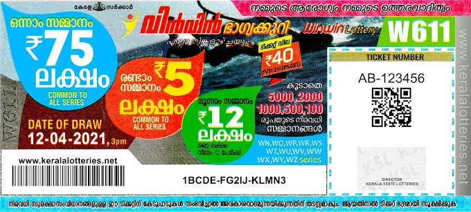 Kerala Lotteries Results 12-04-2021 Win Win W-611 Lottery Result