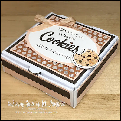 A quick and fun cookie box with the Stampin' Up! Mini Pizza boxes and Nothing's Better Than bundle.