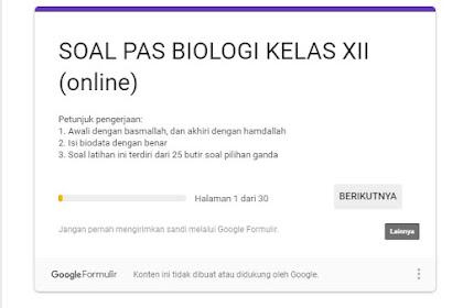 Soal Latihan PAS Biologi Kelas XII Online