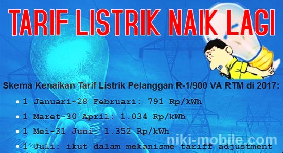 (WORO-WORO) Tarif Listrik Pelanggan R-1/900 VA RTM (Rumah Tangga Mampu) Per 1 Mei 2017 Naik 30% Lagi !!!