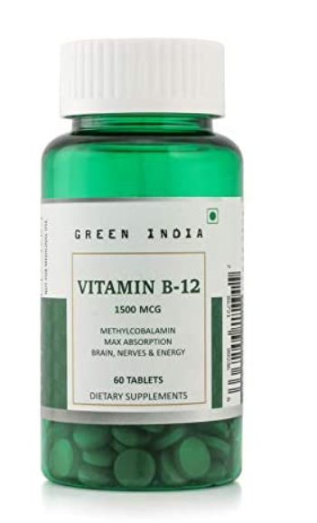 Green India Vitamin B12 Methylcobalamin. Enhanced Absorption for Brain and Nervous Support-60 veg tablets