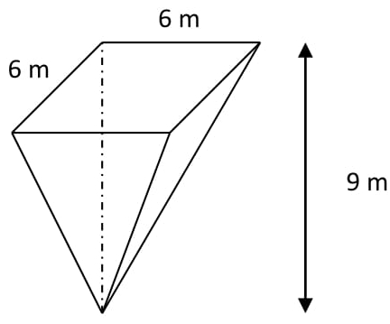 """Uma caixa-d'água de uma grande indústria tem o formato da figura abaixo – pirâmide quadrangular regular """"invertida"""" – com aresta da base e altura medindo, respectivamente, 6 m e 9 m."""