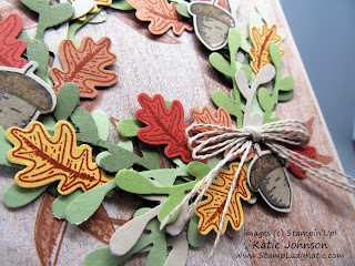 Fall wreath card made with Stampin'Up's small leaf and acorn punches from the Autumn Punch pack and coordinating Beautiful Autumn Stamp set