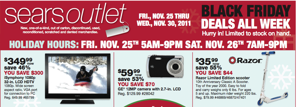 Sears Outlet Black Friday 2011 Ad Leaked