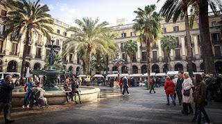 Open square in Barcelona, Spain.