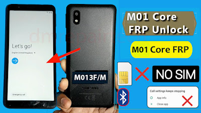 SAMSUNG Galaxy M01 Core FRP Bypass Google lock remove NO SIM without pc