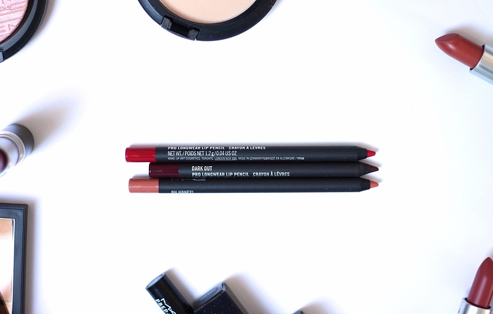 MAC PRO LONGWEAR LIP PENCIL [Trust In Red, Dark Out i Oh Honey!] review recenzija