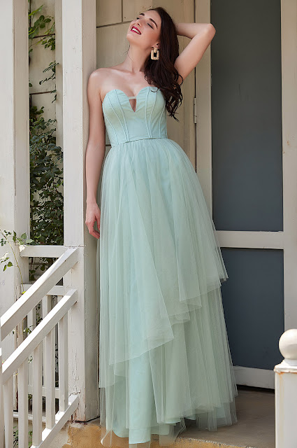 sexy green prom dress with asymmetric skirt