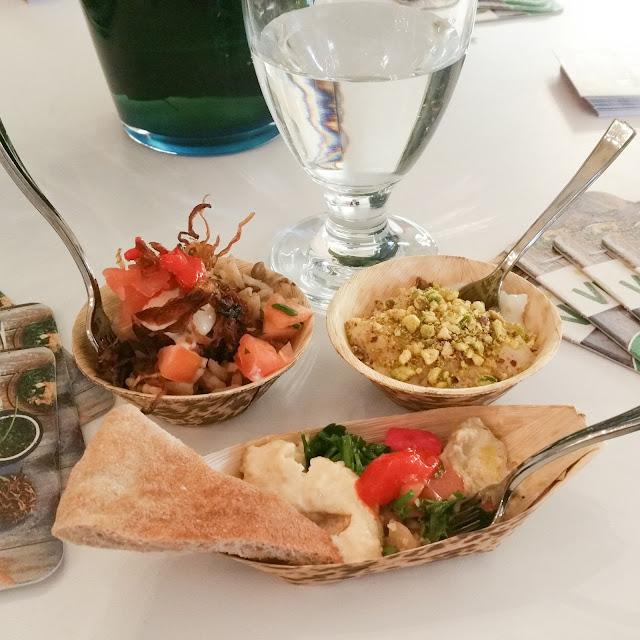 Falafel, rice pudding, hummus, babaganuj