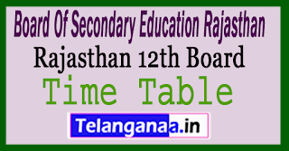 Rajasthan Board 12th Time Table 2018