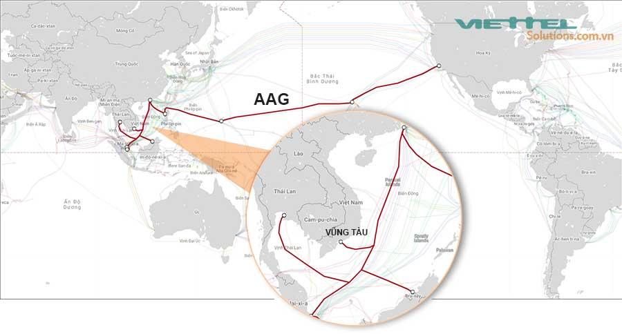 Hình 1 - Cáp quang biển AAG (Asia - American Getway)