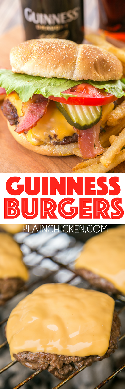 Guinness Burgers - simply THE BEST! Can make ahead of time and freezer for later. Hamburger, Guinness beer, Worcestershire sauce, mustard,onion, garlic, salt, pepper. I don't like beer, but these burgers were DELICIOUS!!! A new favorite!!