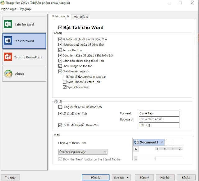 Office Tab 14 - Mở mọi thứ trong Microsoft Office 2019, 2016 - 2003 và Office 365 được sắp xếp theo tab