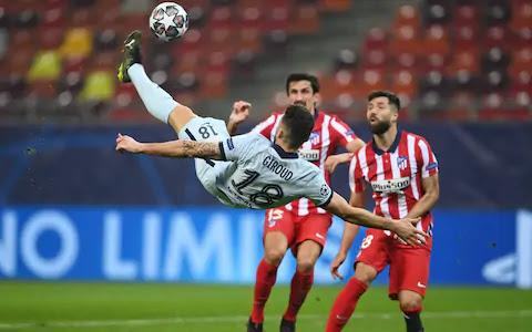 Giroud overhead kick to score winner for Chelsea against Atletico