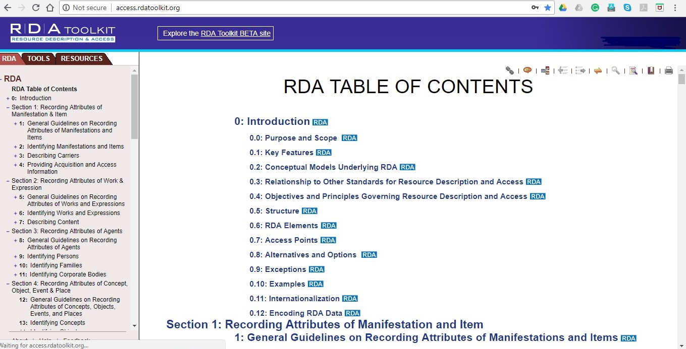 RDA: Resource Description & Access in RDA Toolkit