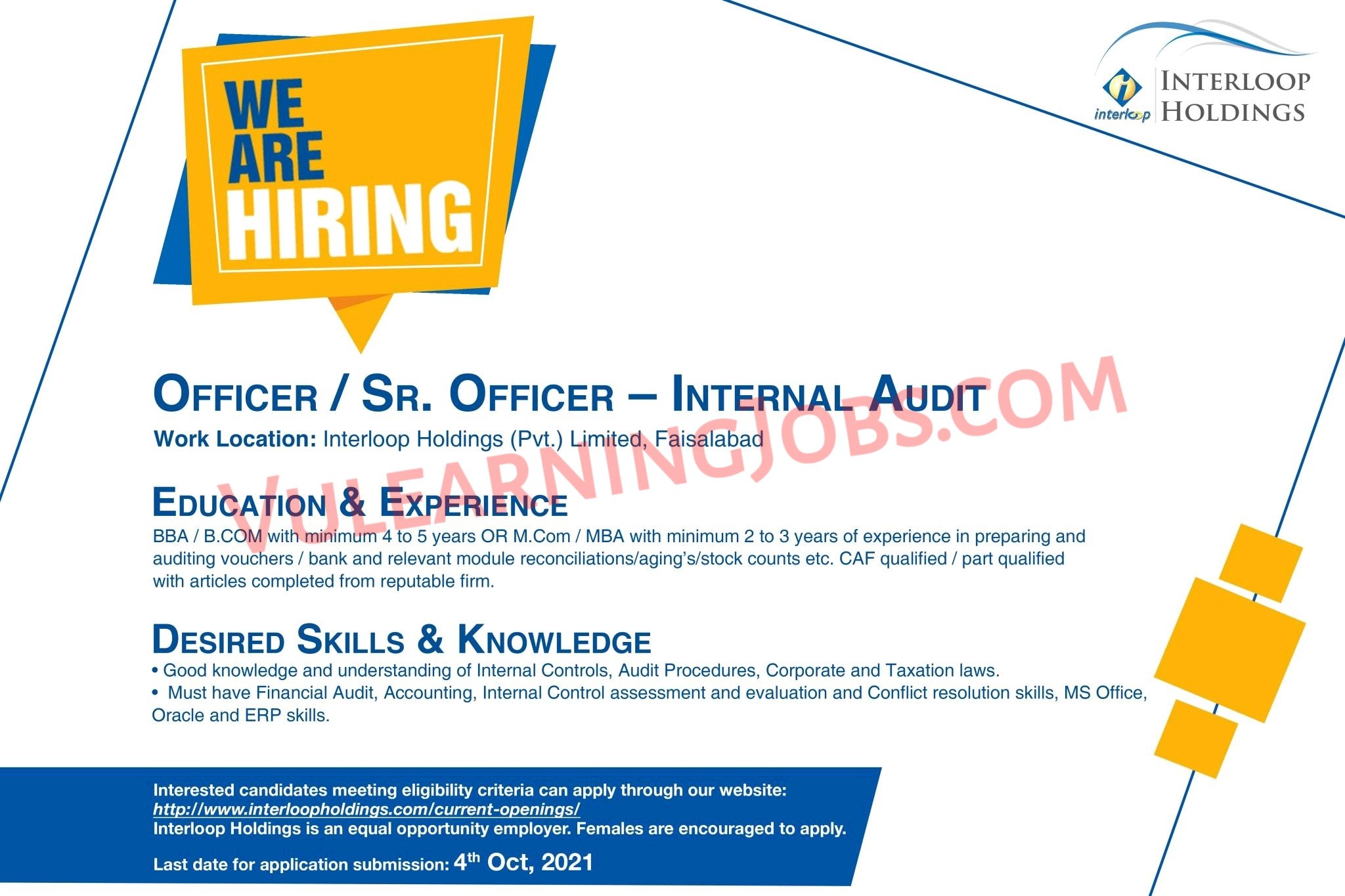 Interloop Holdings Private Limited Jobs September 2021 For Officer, Sr. Officer & IT Specialist Latest