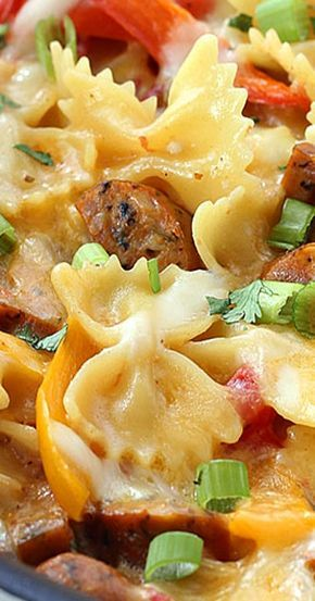 One Pot Cheesy Sausage And Peppers Pasta