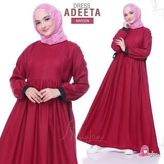 Adeeta Dress Gamis Miulan Maroon
