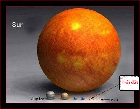 mặt trời to lớn hơn Trái đất một triệu lần