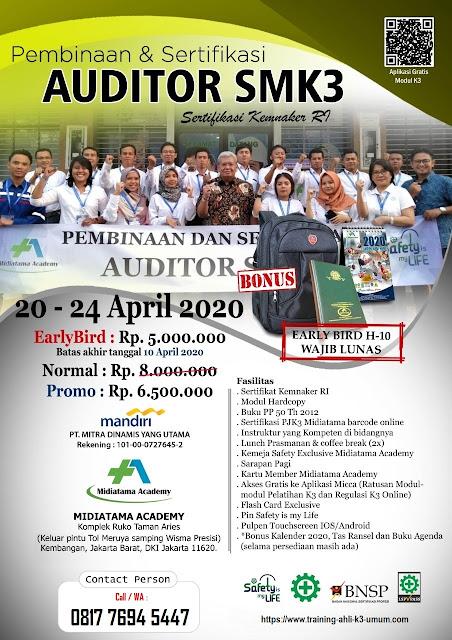 Auditor SMK3 kemnaker tgl. 20-24 April 2020 di Jakarta