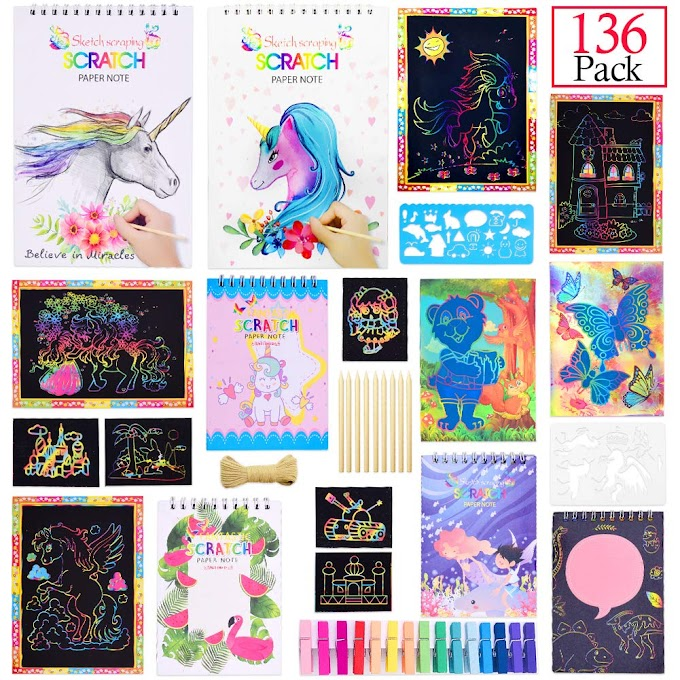 AMAZON - 40% OFF Rainbow Unicorn Scratch Art Set, 136 Pcs