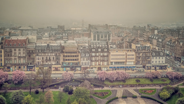 Edinburgh in the fog in cherry blossom season, post lockdown trip, mandy charlton, photographer, writer, blogger