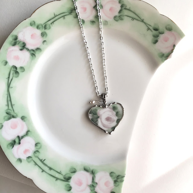 Lovely porcelain rose necklace from Dishfunctional Designs