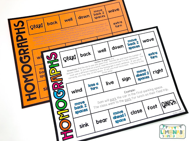 homographs activities and games