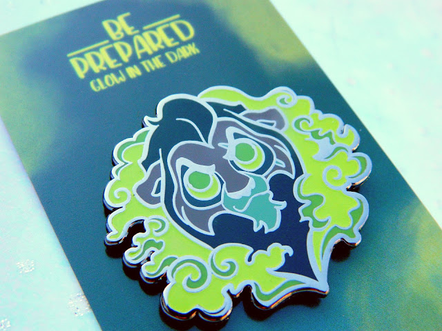 A photo of an enamel pin by FoxLeap! featuring Scar from Disneys Lion King