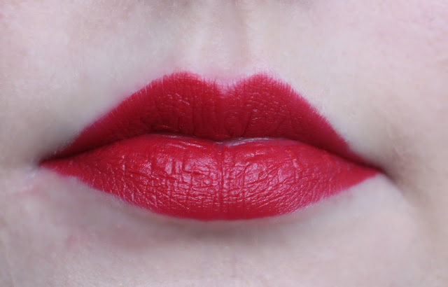 Photo of the Iracebeth Lipstick from the Urban Decay Alice Through the Looking Glass Collection on my lips