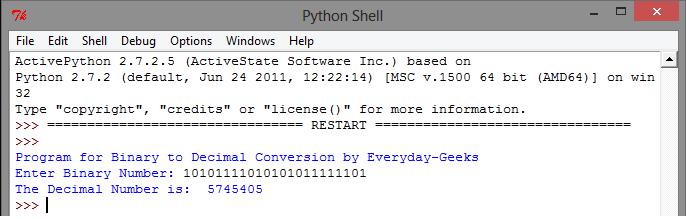Python: Convert from Binary to Decimal ~ Everyday-Geeks
