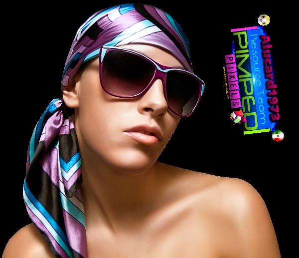 png mujer con lentes y pañuelo